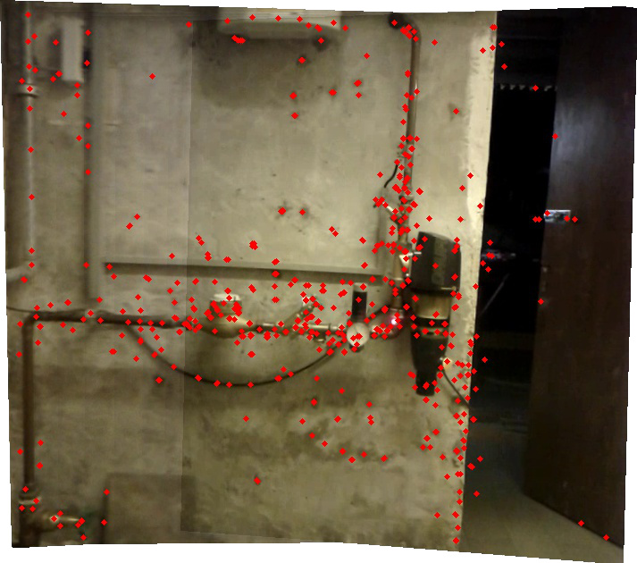 First path of the laser pointer stitched. (Red dots are used features)