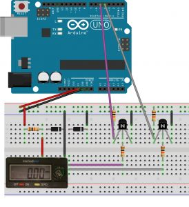 Connection circuit for digital caliper and Arduino development board